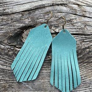 leather earrings Mint fringe cowgirl southwestern